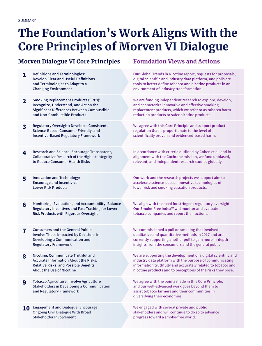 Table comparing Morven Dialog VI Core Principles and Foundation Views and Actions